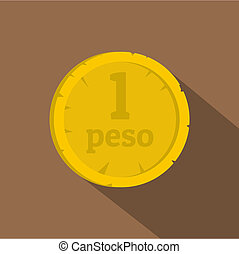 Peso icon, flat style - Peso icon. Flat illustration of peso...