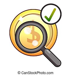 Dollar searching icon, flat style - Dollar searching icon....