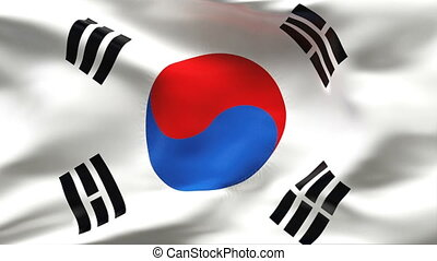 Textured KOREA  cotton flag