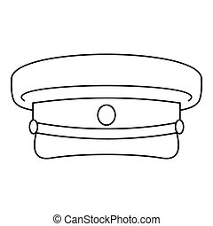 Military hat icon, outline style