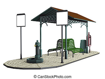 Tram shelter - 3d render illustration, old Tram shelter
