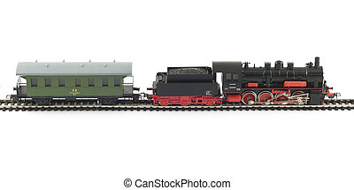 Toy Steam Train and caboose on white background
