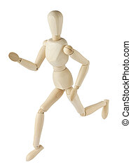 Running mannequin - wooden mannequin running isolated on...