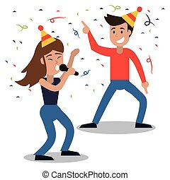couple dancing party confetti celebration