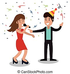 couple dancing party confetti celebration vector...