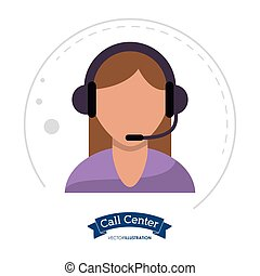 call center woman operator design