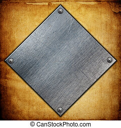 Metal plates on grunge paper background