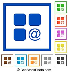 Component sending email flat framed icons - Component...