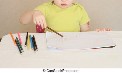 A little girl draws with colored pencils