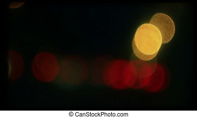 Night road lights Retro color film background, loop, HD