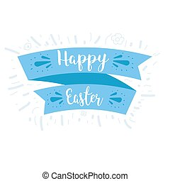 Ribbon and blue lettering Happy Easter. Illustration on...