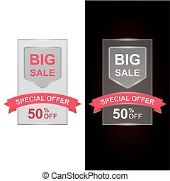 Big Sale with 50 percent discount and big offer with shiny red ribbon. Illustration set for flyer, website or banner.