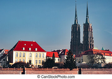 Tumski Island, Wroclaw, Poland - View on Church of the Holy...