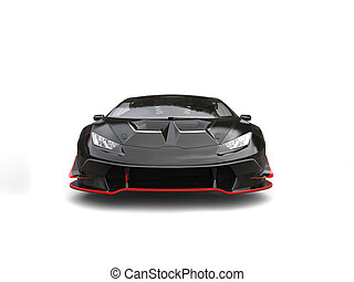 Amazing sleek black race car with red details - front view