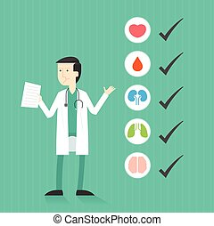 Doctor with list of medical check up. Heart, blood, kidney,...