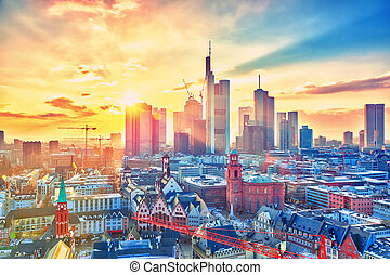 Frankfurt at sunset, Germany - Frankfurt am Main at sunset,...