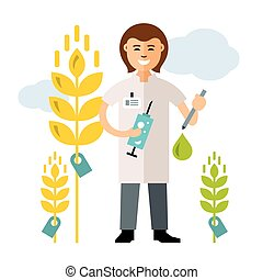 Vector Plant breeding, genetic engineering. Agriculture and Science. Flat style colorful Cartoon illustration.