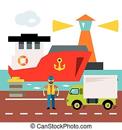 Vector Sea port. Cargo and shipping. Flat style colorful...