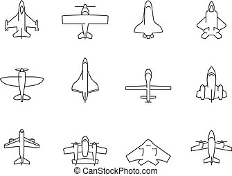 Outline Icons - Airplanes - Airplane silhouette icons in...