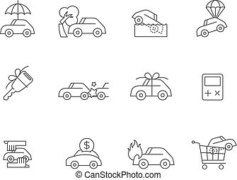 Outline Icons - Auto Insurance - Car insurance icons in thin...