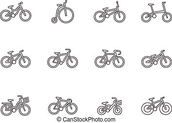 Outline Icons - Bicycles - Bicycle type icons in thin...
