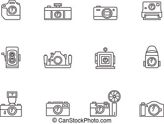 Outline Icons - Cameras - Camera icons in thin outlines.
