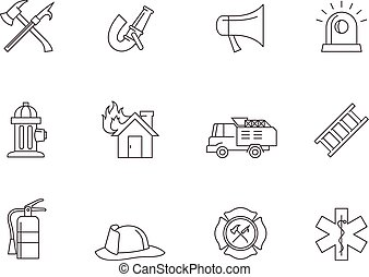 Outline Icons - Fire Fighter - Fire fighter icons in thin...