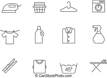 Outline Icons - Laundry - Laundry icons in thin outlines.