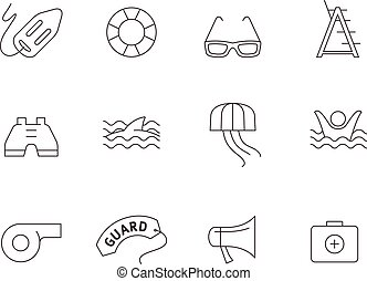 Outline Icons - Lifeguard - Lifeguard icons in thin...