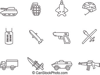 Outline Icons - Military - Military icons in thin outlines.