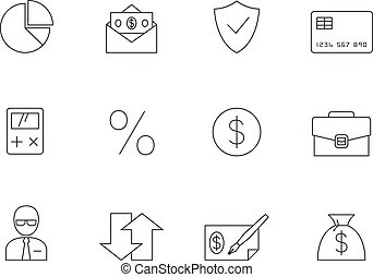 Outline Icons - More Finance - Finance icon series in thin...