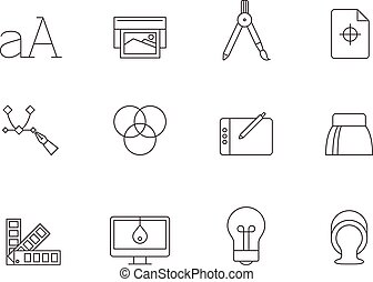 Outline Icons - Printing & Graphic Design