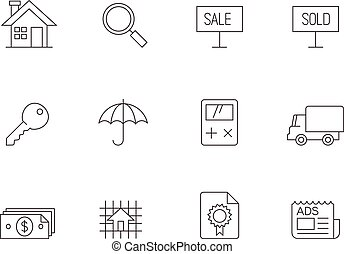 Outline Icons - Real Estate - Real estate icon series in...