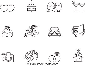 Outline Icons - Wedding