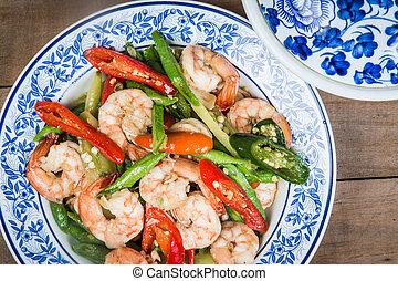 shrimp with vigna unguiculata subsp and paprika, Thai food