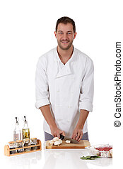 Young attractive chef caucasian male, tasty rostbief