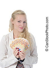 woman with money - long-haired young blonde woman holding a...