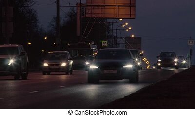 City traffic at night in Moscow - RUSSIA MOSCOW - march...