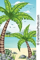 Vertical tropical coastal background for mobile phone screen