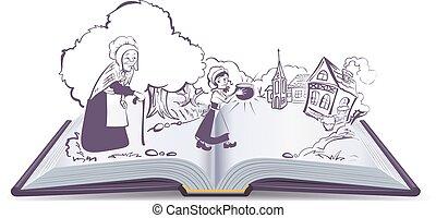 Open book Fairy tale Sweet magic porridge pot