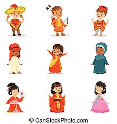 Kids Wearing National Costumes Of Different Countries...