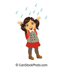Girl In School Uniform, Kid In Autumn Clothes In Fall Season Enjoyingn Rain And Rainy Weather, Splashes And Puddles