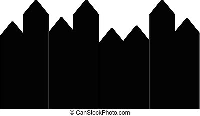 Black and white silhouette picket fence