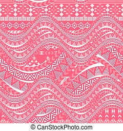 Pink waves background. Ethnic seamless pattern ornament,...