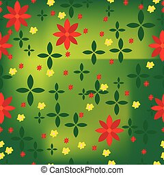 Abstract flower pattern with green background