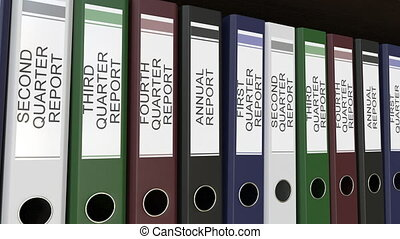 Line of multicolor office binders with Quarter and annual...