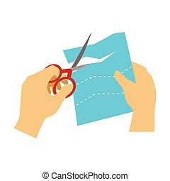 Two Hands Cutting Paper With Scissors For Applique, Elementary School Art Class Vector Illustration