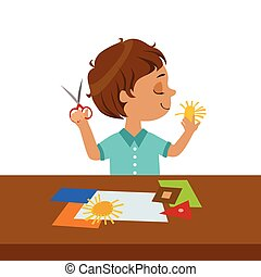 Boy Cutting Sun Shape For Paper Applique, Elementary School Art Class Vector Illustration