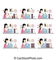 Female Office Worker Daily Work Scenes With Different Emotions, Set Of Illustrations Of Busy Day At The Office