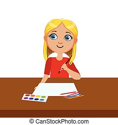 Girl Ready To Start Painting, Elementary School Art Class Vector Illustration